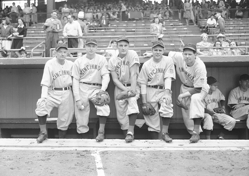 FILE - In this June 26, 1942 file photo, Cincinnati Reds All-Stars line up at Ebbets Field in Brooklyn, New York before a game with the Brook Dodgers. (AP Photo, File)