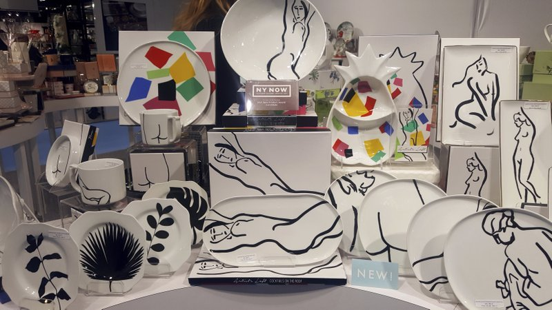 This Feb. 3, 2019 photo shows pieces at the NY NOW Show in New York from Francesca Rosati's Artists Loft: Cocktails on the Roof collection which featured her Matisse-like originals in drawings on tableware, for Rosanna Inc. (Kim Cook via AP)