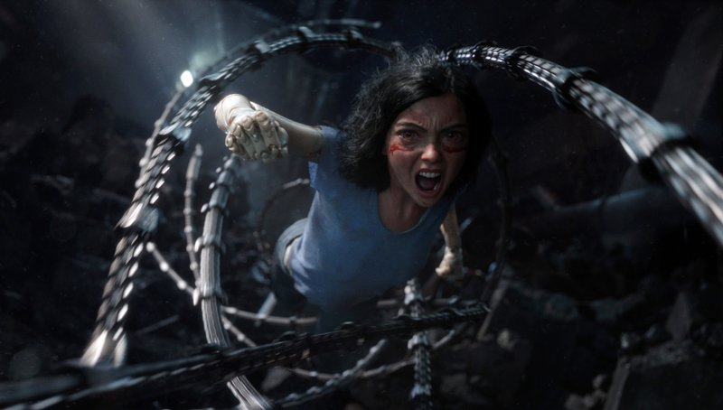 This image released by Twentieth Century Fox shows the character Alita, voiced by Rosa Salazar, in a scene from