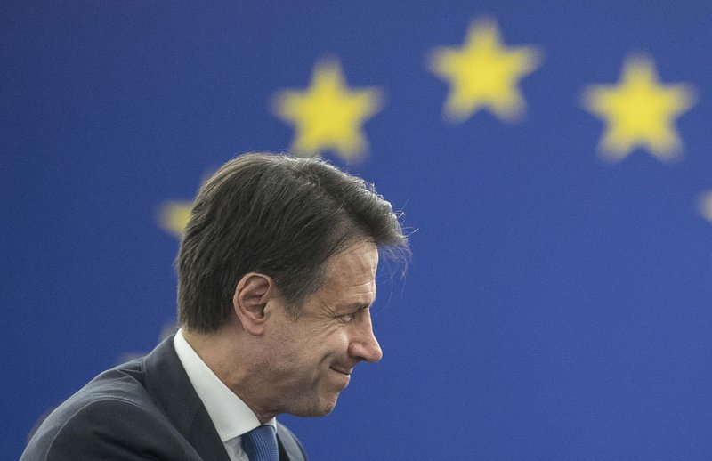 Italian Prime Minister Giuseppe Conte attend a debate on the future Europe at the European Parliament in Strasbourg, eastern France, Tuesday Feb. (AP Photo/Jean-Francois Badias)