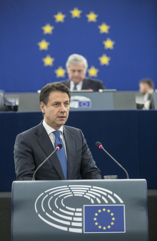Italian Prime Minister Giuseppe Conte speaks during a debate on the future Europe at the European Parliament in Strasbourg, eastern France, Tuesday Feb. (AP Photo/Jean-Francois Badias)