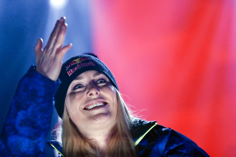 Third placed United States' Lindsey Vonn poses during the medal ceremony for the women's downhill race at the alpine ski World Championships in Are, Sweden, Sunday, Feb. (AP Photo/Gabriele Facciotti)