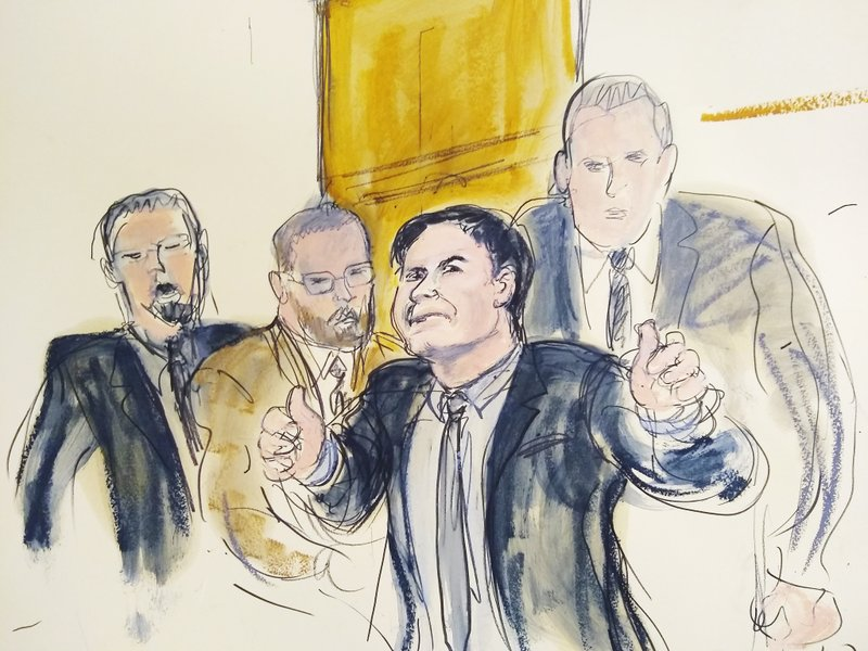 In this courtroom drawing, Joaquin