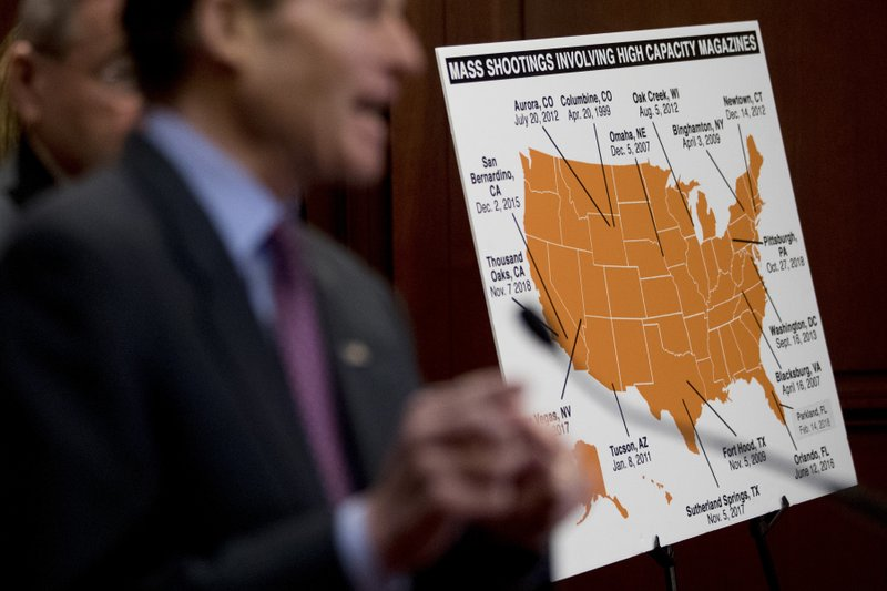 Sen. Richard Blumenthal, D-Conn., speaks at a news conference on an proposed amendment to ban high capacity magazines in guns, on Capitol Hill, Tuesday, Feb. (AP Photo/Andrew Harnik)