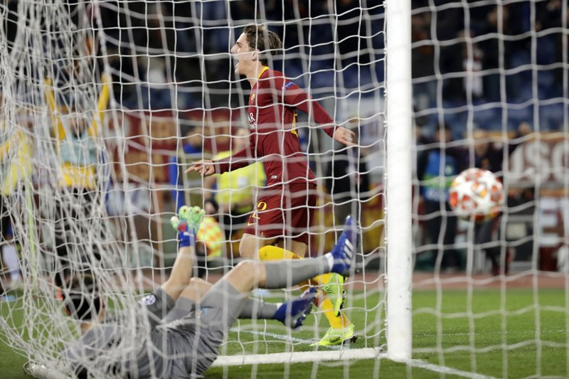 Roma midfielder Nicolo' Zaniolo celebrates after scoring his side's second goal during a Champions League round of 16 first leg soccer match between Roma and Porto, at Rome's Olympic Stadium, Tuesday, Feb. (AP Photo/Andrew Medichini)