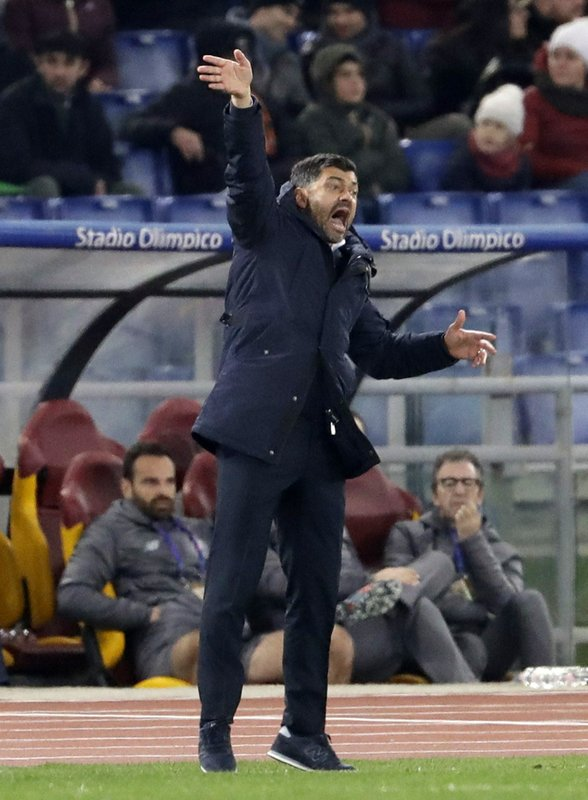 Porto coach Sergio Conceicao gives instructions to his players during a Champions League round of 16 first leg soccer match between Roma and Porto, at Rome's Olympic Stadium, Tuesday, Feb. (AP Photo/Andrew Medichini)