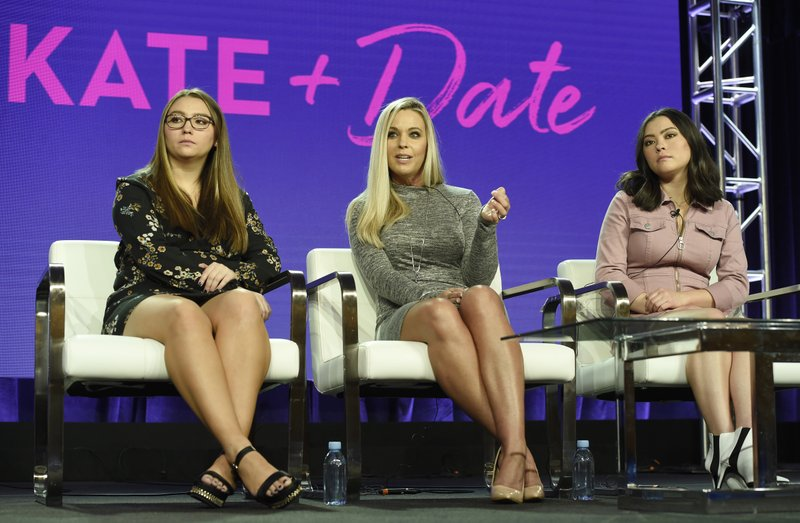 Kate Gosselin, center, and her daughters Cara, left, and Mady, cast members in the TLC series