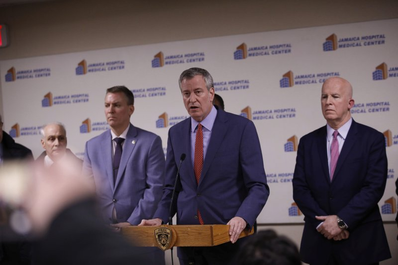 New York Mayor Bill de Blasio speaks during a press conference at Jamaica Hospital Medical Center Tuesday, Feb. (AP Photo/Kevin Hagen).
