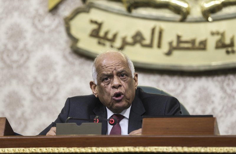 Parliament Speaker Ali Abdel-Al presides over Egypt's Parliament as it meets to deliberate constitutional amendments that could allow President Abdel-Fattah el-Sissi to stay in office till 2034, in Cairo Egypt, Wednesday, Feb 13, 2019. (AP Photo)