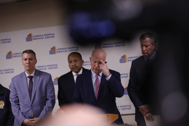 Commissioner James O'Neill speaks during a press conference at Jamaica Hospital Medical Center Tuesday, Feb. (AP Photo/Kevin Hagen).