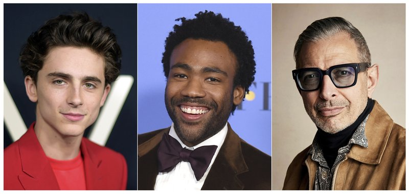 This combination photo shows, from left, Timothee Chalamet, Donald Glover and Jeff Goldblum, who were named Hollywood's most stylish stars by People Magazine. (AP Photo)
