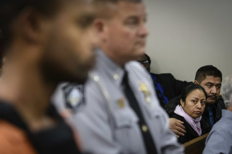 FILE - In this Dec. 10, 2018 file photo, Celsa Maribel Hernandez Velasquez, mother of Hania Aguilar, stares at Michael Ray McLellan during his first court appearance in Lumberton, N. (Andrew Craft/The Fayetteville Observer via AP, File)