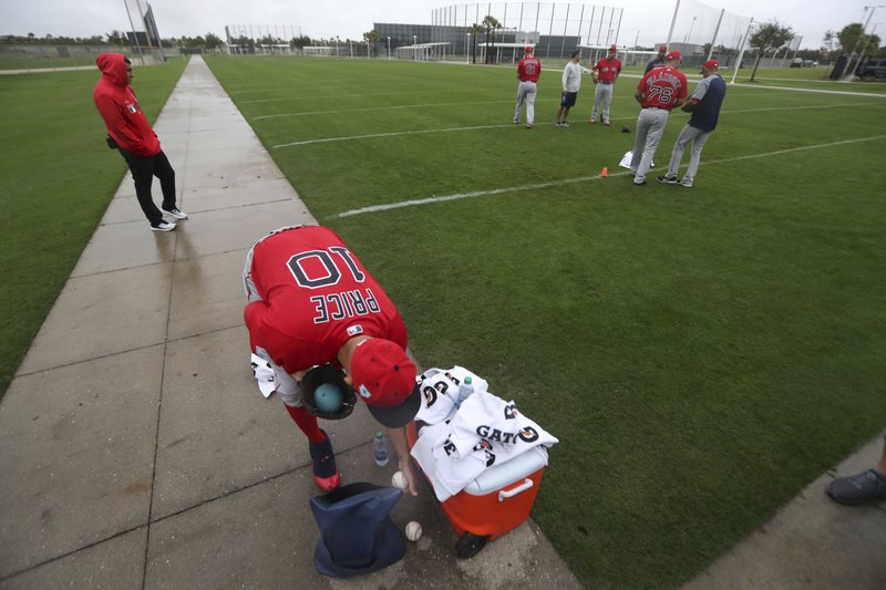 Boston Red Sox starting pitcher David Price (10) retrieves balls as pitchers and catchers report for their first workout at their spring training baseball facility in Ft. (AP Photo/Gerald Herbert)