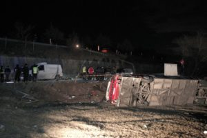 Bus plunges into ravine in North Macedonia, killing 14