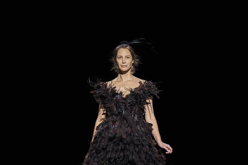 Christy Turlington Burns walks the runway in Marc Jacobs collection during Fashion Week in New York, Wednesday, Feb. (AP Photo/Andres Kudacki)