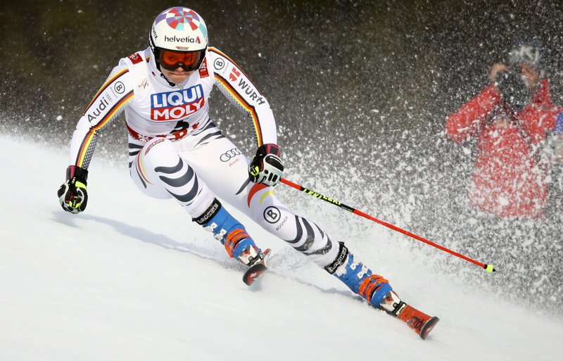Germany's Viktoria Rebensburg competes during the women's giant slalom, at the alpine ski World Championships in Are, Sweden, Thursday, Feb. (AP Photo/Marco Trovati)
