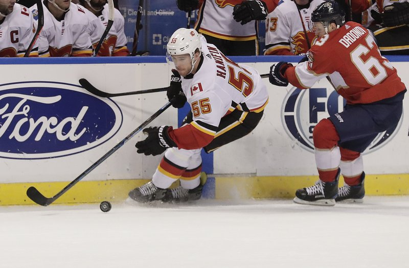 Calgary Flames defenseman Noah Hanifin battles for the puck with Florida Panthers right wing Evgenii Dadonov during the first period of an NHL hockey game Thursday, Feb. (AP Photo/Brynn Anderson)
