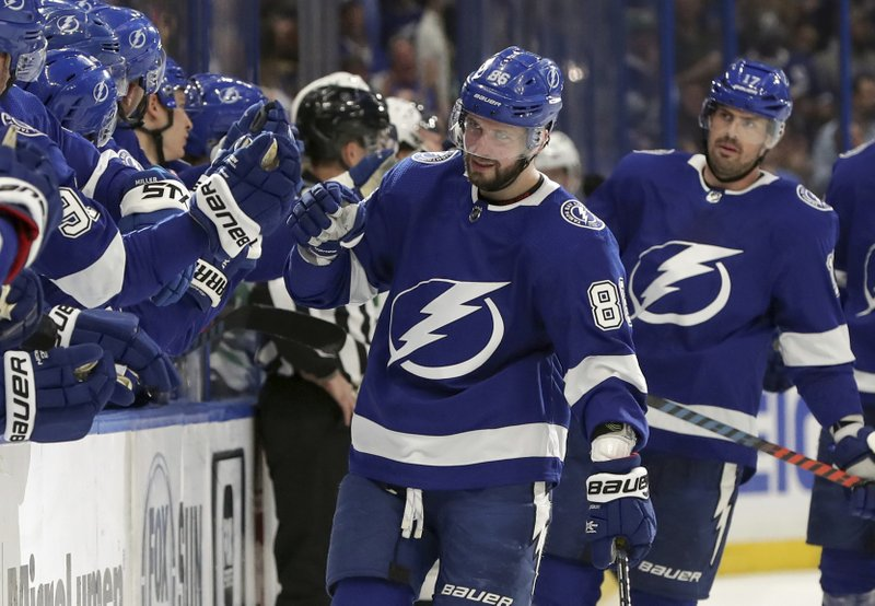 Tampa Bay Lightning's Nikita Kucherov, of Russia, is congratulated for a goal against the Dallas Stars during the first period of an NHL hockey game Thursday, Feb. (AP Photo/Mike Carlson)