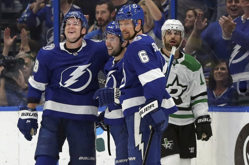 Tampa Bay Lightning's Ondrej Palat, of the Czech Republic, Tyler Johnson, and Anton Stralman, of Sweden, celebrate a goal as Dallas Stars' Andrew Cogliano reacts during the first period of an NHL hockey game Thursday, Feb. (AP Photo/Mike Carlson)
