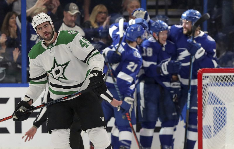 Dallas Stars' Roman Polak, of Czech Republic, skates away as Tampa Bay Lightning players celebrate a goal during the first period of an NHL hockey game Thursday, Feb. (AP Photo/Mike Carlson)