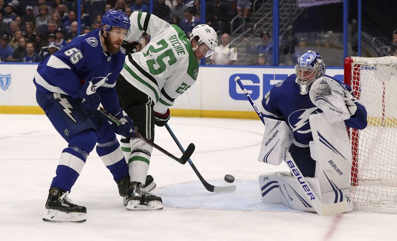 Tampa Bay Lightning goaltender Andrei Vasilevskiy, of Russia, makes a save against Dallas Stars' Brett Ritchie, as Braydon Coburn (55) defends during the first period of an NHL hockey game Thursday, Feb. (AP Photo/Mike Carlson)
