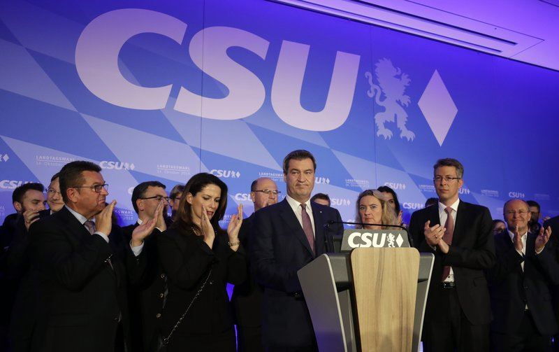FILE - In this Sunday, Oct. 14, 2019 file photo, Bavarian governor Markus Soeder gives a statement in the state parliament in Munich, Germany, after the polling stations for the Bavarian state elections have closed. (AP Photo/Matthias Schrader)
