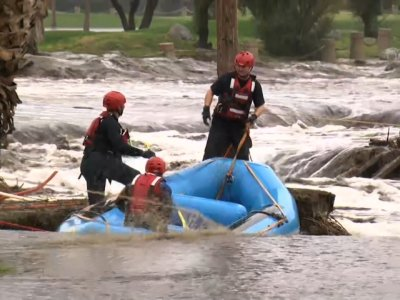 Numerous flood rescues were reported in areas east of Los Angeles as heavy rain pounded California on Thursday. (Feb. 15)