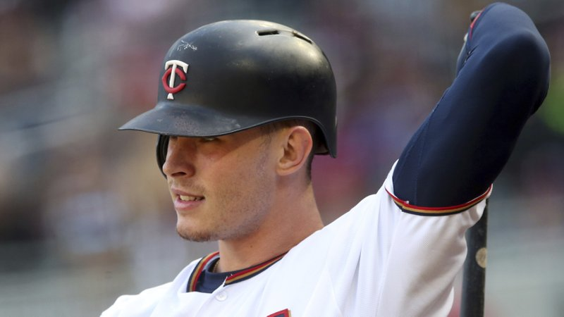 FILE- In this Sept. 28, 2018, file photo, Minnesota Twins' Max Kepler waits on deck during the first baseball game of a doubleheader against the Chicago White Sox in Minneapolis. (AP Photo/Jim Mone, File)