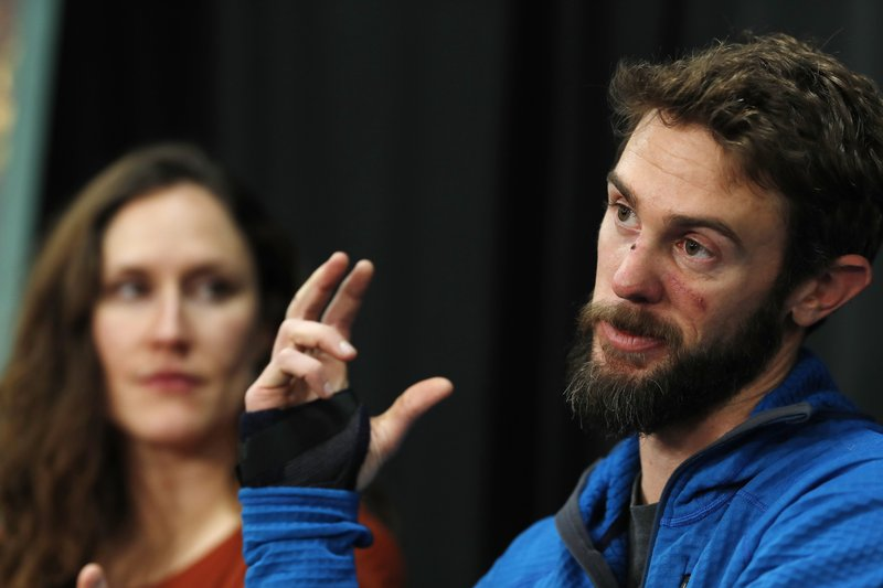 Travis Kauffman responds to questions during a news conference Thursday, Feb. 14, 2019, in Fort Collins, Colo. (AP Photo/David Zalubowski)