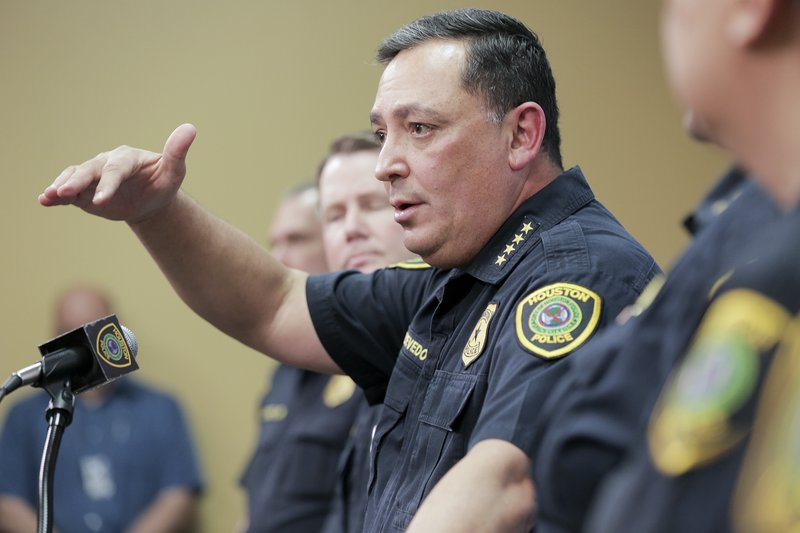 Houston Police Chief Art Acevedo talks to the media during a press conference at the police station, Friday, Feb. ( Elizabeth Conley/Houston Chronicle via AP)