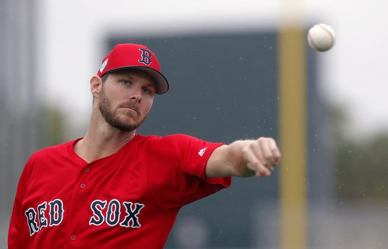 Boston Red Sox starting pitcher Chris Sale warms up as pitchers and catchers report for their first workout at their spring training baseball facility in Ft. (AP Photo/Gerald Herbert)