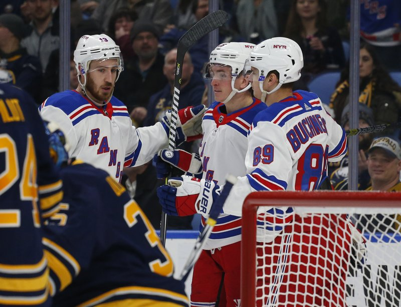 New York Rangers Kevin Hayes (18) Jimmy Vesey (26) and Pavel Buchnevich (90) celebrate a goal during the second period of an NHL hockey game against the Buffalo Sabres, Friday, Feb. (AP Photo/Jeffrey T. Barnes)