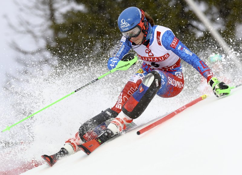 Slovakia's Petra Vlhova competes during the women's slalom, at the alpine ski World Championships in Are, Sweden, Saturday, Feb. (AP Photo/Alessandro Trovati)