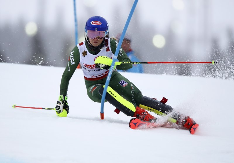 United States' Mikaela Shiffrin competes during the women's slalom, at the alpine ski World Championships in Are, Sweden, Saturday, Feb. (AP Photo/Marco Trovati)