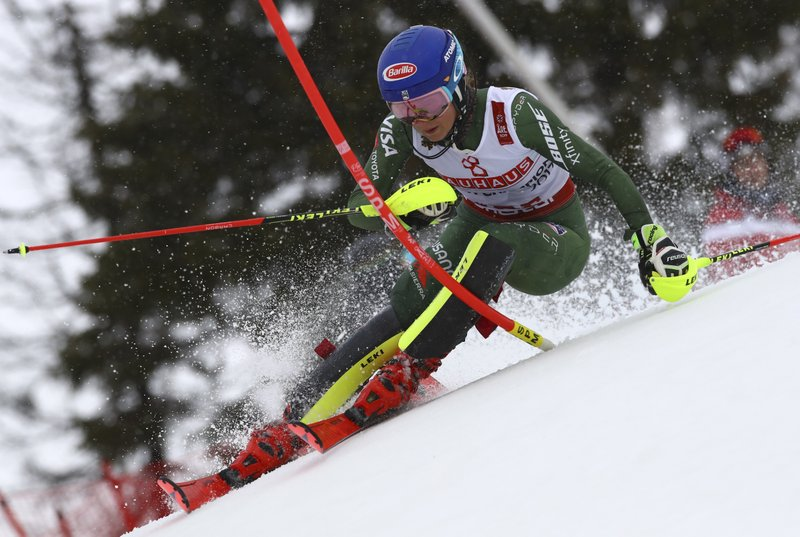 United States' Mikaela Shiffrin competes during the women's slalom, at the alpine ski World Championships in Are, Sweden, Saturday, Feb. (AP Photo/Alessandro Trovati)