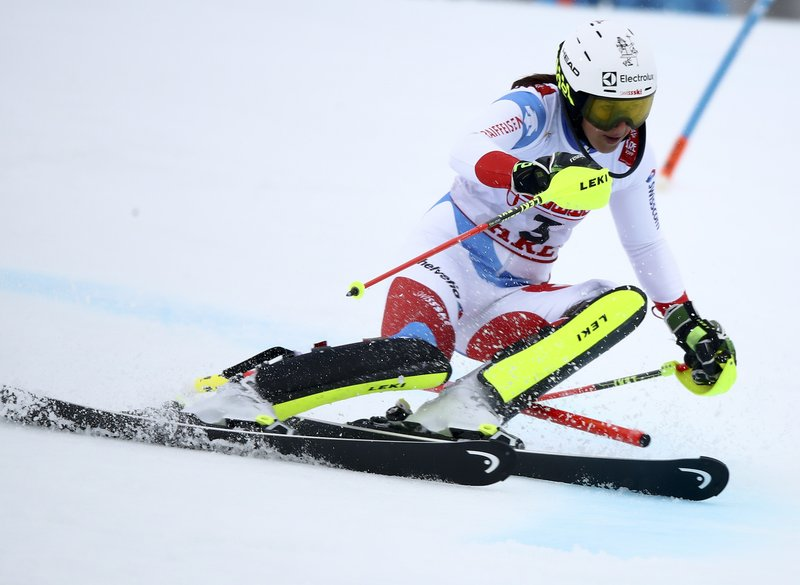 Switzerland's Wendy Holdener competes during the women's slalom, at the alpine ski World Championships in Are, Sweden, Saturday, Feb. (AP Photo/Marco Trovati)
