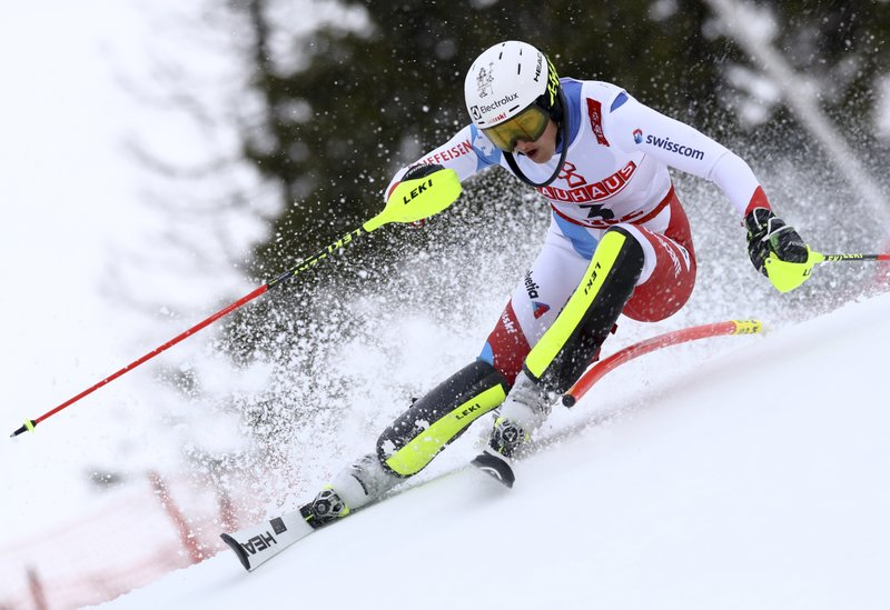 Switzerland's Wendy Holdener competes during the women's slalom, at the alpine ski World Championships in Are, Sweden, Saturday, Feb. (AP Photo/Alessandro Trovati)