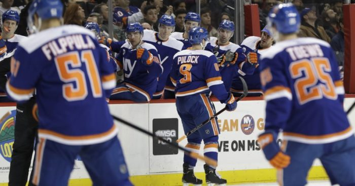 88b66f240 New York Islanders  Ryan Pulock (6) celebrates with teammates after scoring  a goal during the second period of an NHL hockey game against the Edmonton  ...