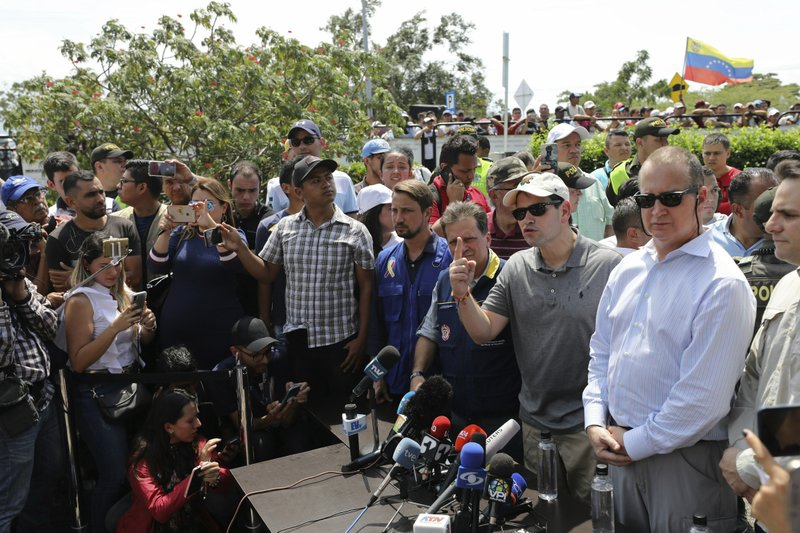 U.S. Senator Marco Rubio, R-Fla., speaks to the press near the Simon Bolivar International Bridge, which connects Colombia with Venezuela, in La Parada, near Cucuta, Colombia, Sunday, Feb. (AP Photo/Fernando Vergara)