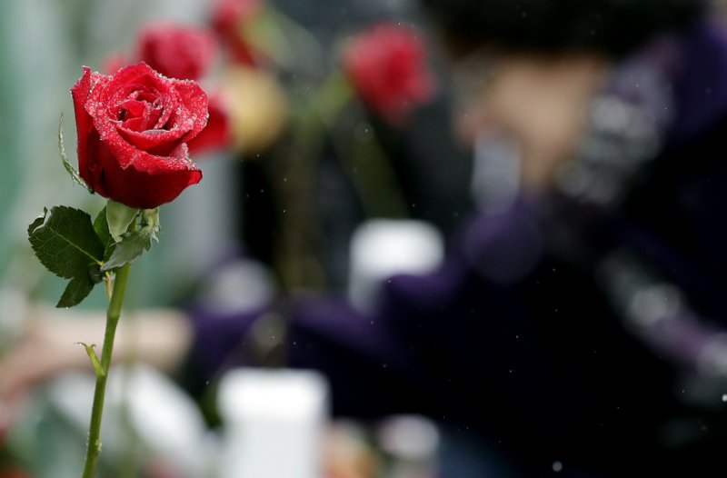 A rose is covered by ice at a makeshift memorial Sunday, Feb. 17, 2019, in Aurora, Ill., near Henry Pratt Co. (AP Photo/Nam Y. Huh)