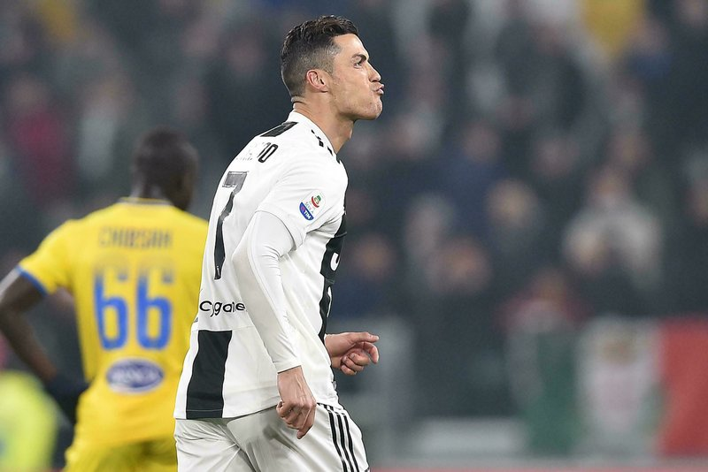 Juventus' Cristiano Ronaldo celebrates after scoring during the Serie A soccer match between Juventus and Frosinone at the Allianz Stadium in Turin, Italy,  Friday, Feb. (Alessandro Di Marco/ANSA via AP)