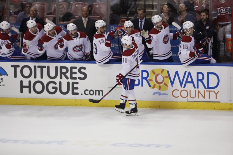 Montreal Canadiens right wing Brendan Gallagher celebrates after scoring against the Florida Panthers during the first period of an NHL hockey game on Sunday, Feb. (AP Photo/Brynn Anderson)