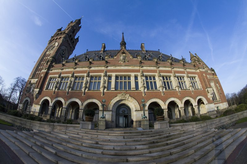 Exterior view of the Peace Palace, which houses the International Court of Justice, or World Court, in The Hague, Netherlands, Monday, Feb. (AP Photo/Peter Dejong)
