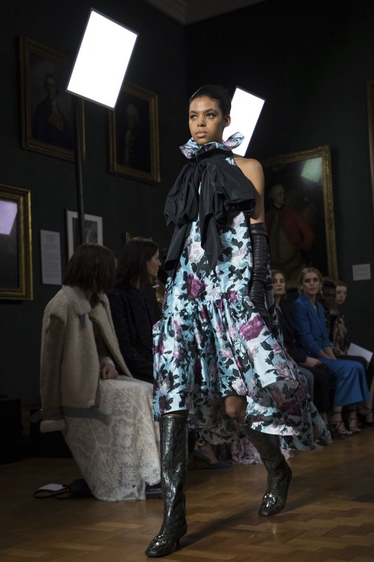 A model wears a creation by Erdem at the Autumn/Winter 2019 fashion week runway show in London, Monday, Feb. (Photo by Vianney Le Caer/Invision/AP)