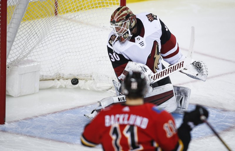Arizona Coyotes goalie Cal Pickard, top, lets in a goal as Calgary Flames' Mikael Backlund, of Sweden, looks on during third period NHL hockey action in Calgary, Alberta, Monday, Feb. (Jeff McIntosh/The Canadian Press via AP)