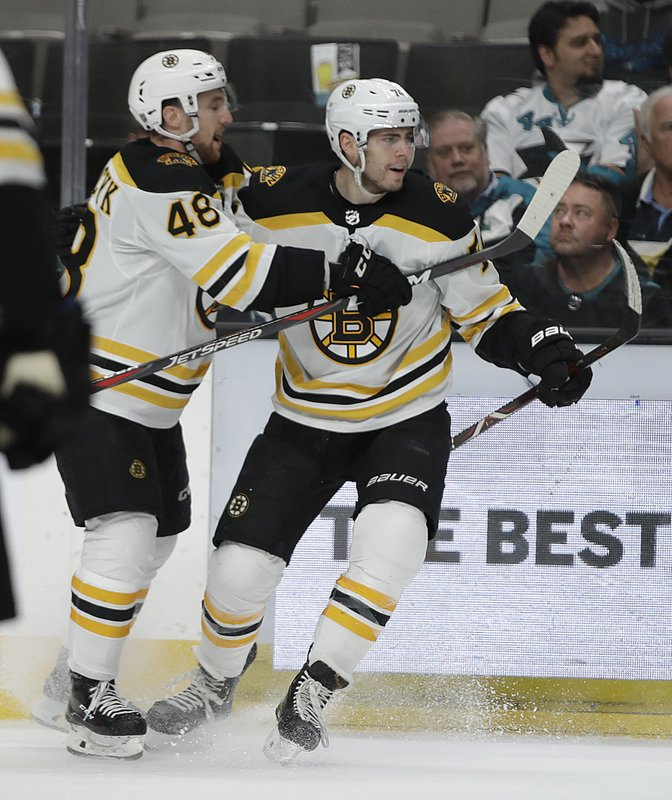 Boston Bruins' Jake DeBrusk, right, celebrates with Matt Grzelcyk (48) after scoring a goal against the San Jose Sharks in the second period of an NHL hockey game Monday, Feb. (AP Photo/Ben Margot)