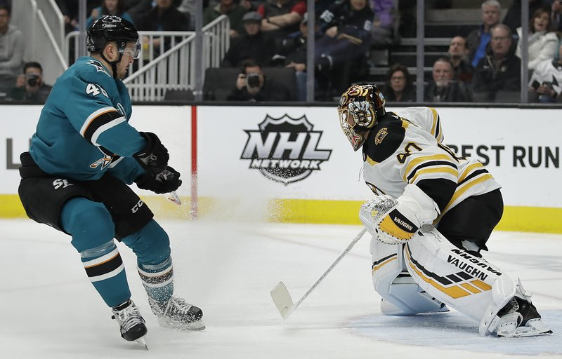 Boston Bruins goalie Tuukka Rask, right, defends against a shot from San Jose Sharks' Tomas Hertl during the first period of an NHL hockey game Monday, Feb. (AP Photo/Ben Margot)