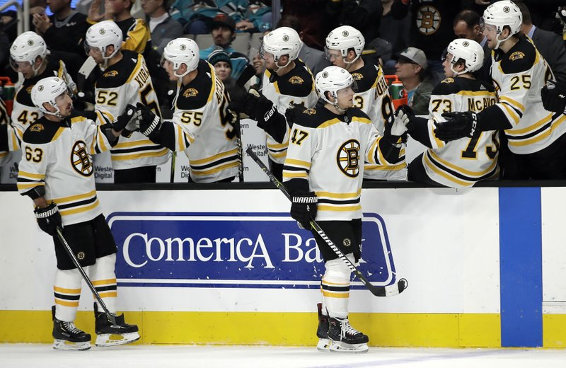 Boston Bruins' Torey Krug (47) is congratulated after scoring a goal against the San Jose Sharks in the first period of an NHL hockey game Monday, Feb. (AP Photo/Ben Margot)