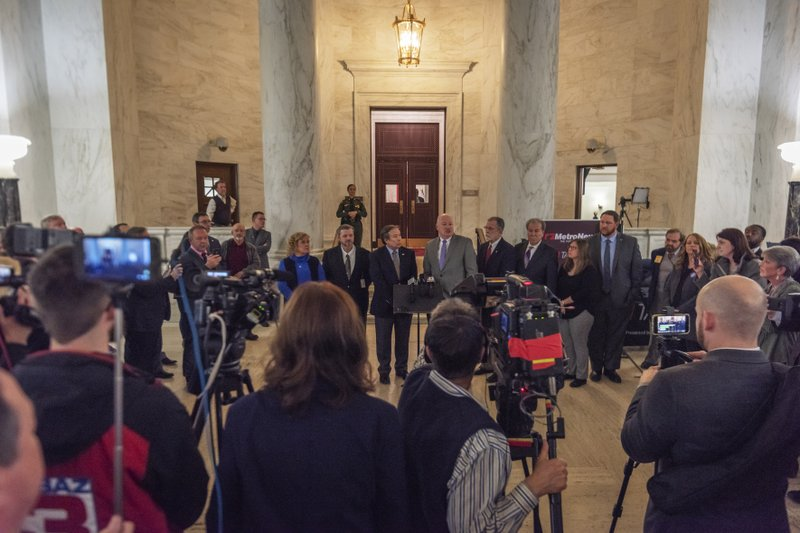 Leaders of the WVEA, AFT-WV and WVSSPA education unions called for a statewide strike beginning tomorrow at a press conference outside of the Senate chamber at the West Virginia State Capitol in Charleston, W. (Craig Hudson/Charleston Gazette-Mail via AP)