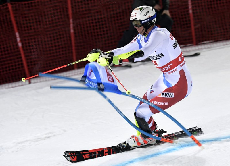 Switzerland's Ramon Zenhaeusern competes during an alpine ski World Cup men's parallel slalom city event, in Hammarbybacken, Stockholm, Sweden, Tuesday, Feb. (Pontus Lundahl/TT via AP)